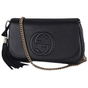 NWT Auth Gucci Soho Leather Tassel Black Crossbody